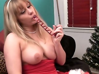 Candy cane dildo for rookie