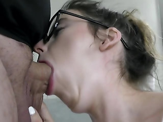 Cutie wife blowing her friends fat cock and take a cumshot facial after