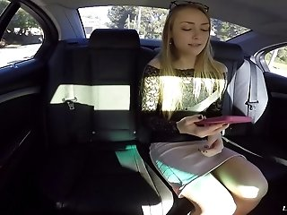 Slutty blonde slut sucks a man's balls and gets fucked in a car
