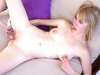 Lusty blond head Anita gets rid of her tight jeans to pet her own wet cunt
