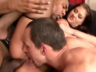Gabriella Daniels gets a hardcore fuck from two cocks