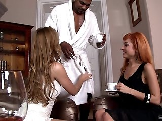 Alexis Crystal seduces her friend into a threesome with big black cock