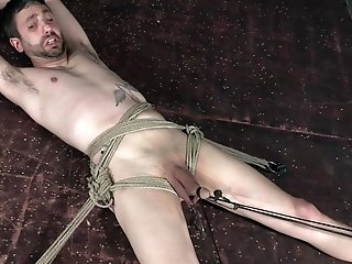 London River ties up a guy with a small dick and forces him to cum