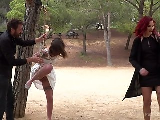 Amateur girl Silvia Rubi tied up in public place and humiliated