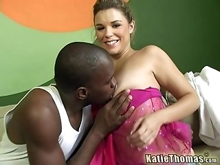 Katie Thomas gets her hairy pussy pounded by a big black cock