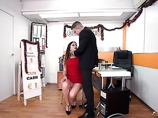 Slutty brunette Lily Calipo sucks a cock and licks balls to get a job