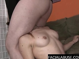 Submissive gymnast face fucked hard