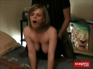 Hot wife with plump natural boobs gets her pussy fucked