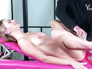 Slim hottie Lorena Y gets her shaved cunt drilled with sex toys