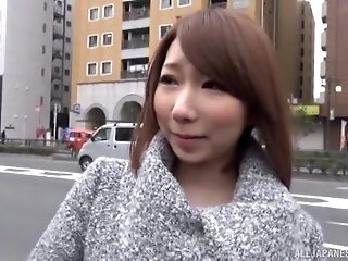 Cute Japanese brunette Yurino Hana picked up on the street to fuck