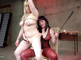 Tied up busty blonde rides her dominant master and enjoys it