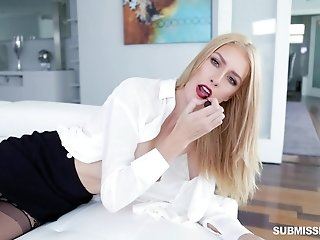 Blonde in stockings Mazzy Grace gets her mouth filled with cum