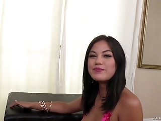 Naughty brunette Kendra Spade flashes big pussy lips and gets analfucked