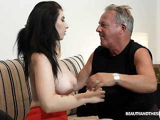 Old vs Young video with a big dick guy and stunning Sheril Blossom