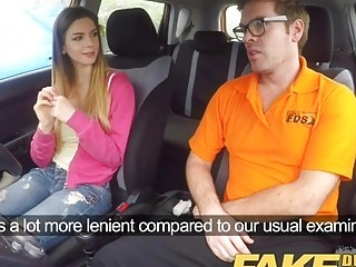 Free Premium VideoFake Driving School full scene - Hot Italian learner with big natural tits