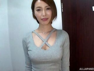 Gorgeous petite Asian babe sucks and rides her husbands dick