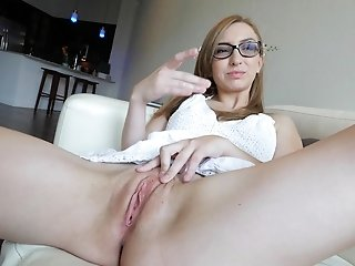 Nerdy blonde Gracie masturbates with various toys in her pussy