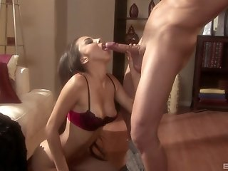 Brunette Alexis Love gives a handjob and rides cock