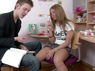 Cute blonde teen babe Megan Vale gets her tight asshole pounded