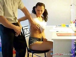 Russian Pigtail Girl Her Private Old Tution Teacher