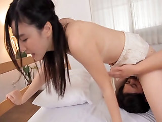 MMF threesome on the bed with balls licking bomb-shell Iori Kogawa