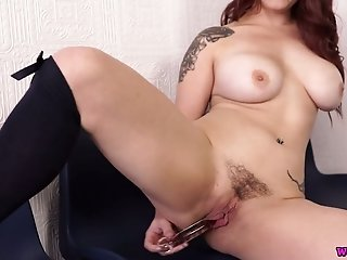Chubby bosomy Lucia Love undresses and takes a dildo for her wet pussy