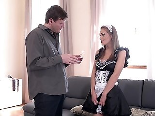 Slutty brunette maid Dominica Phoenix pussy pounded hardcore