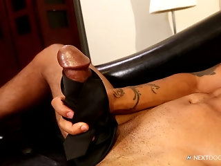 Bald fit dude takes his massive cock in his hands and strokes it slowly