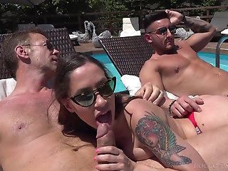 Outdoors orgy by the pool with provocative sluts Malena and Christie Dom