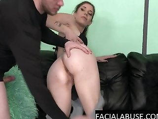 Retarded slut facefucked & rough anal