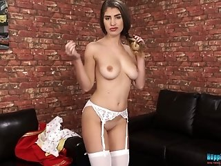 Getting rid of red uniform sexy busty hottie Katie Louise exposes boobies