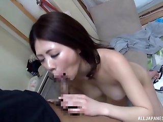 Japanese brunette babe Torii Miki spits out a cumshot from her mouth