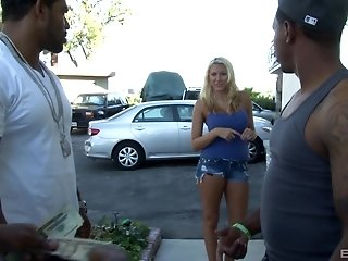 Blonde bombshell in shorts Katie Summers gangbanged by black dudes